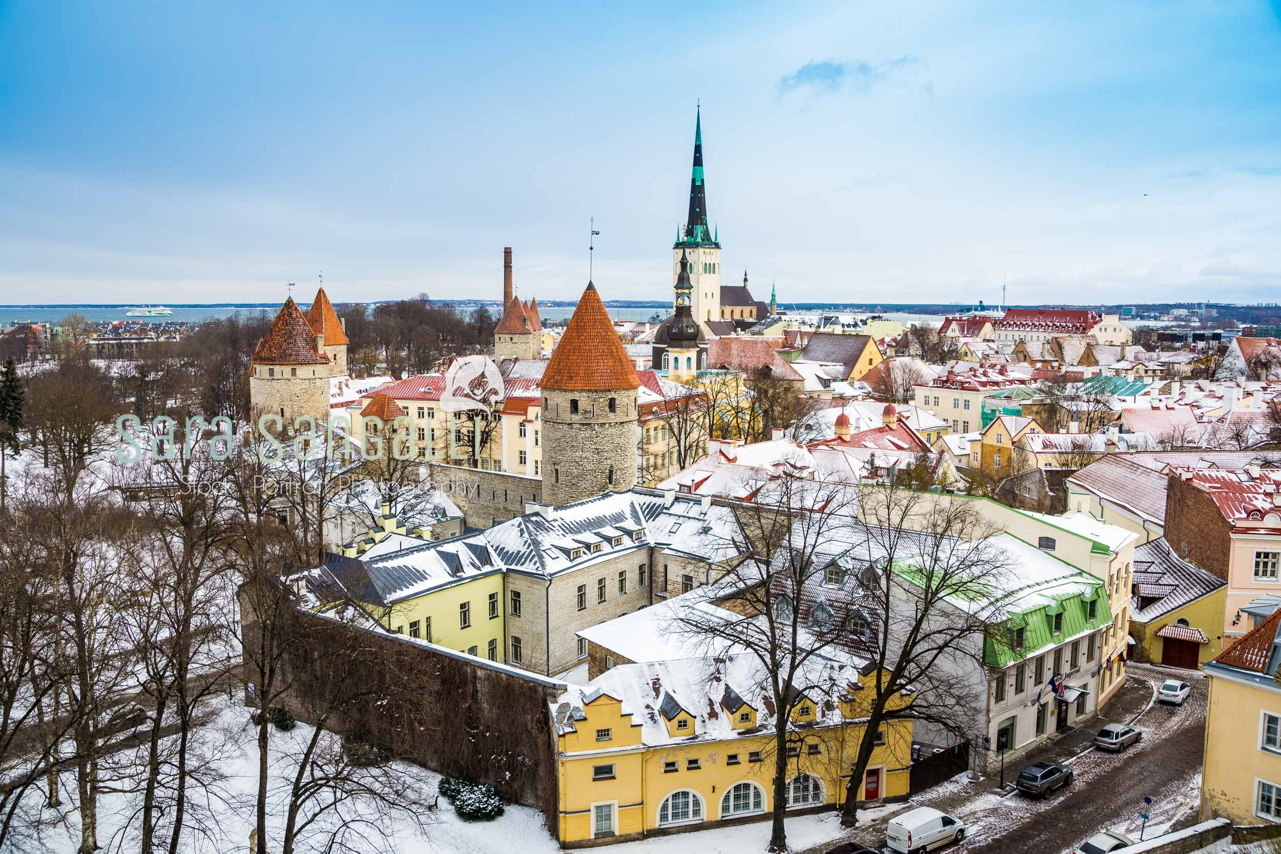 The snowy red roofs of Tallinn