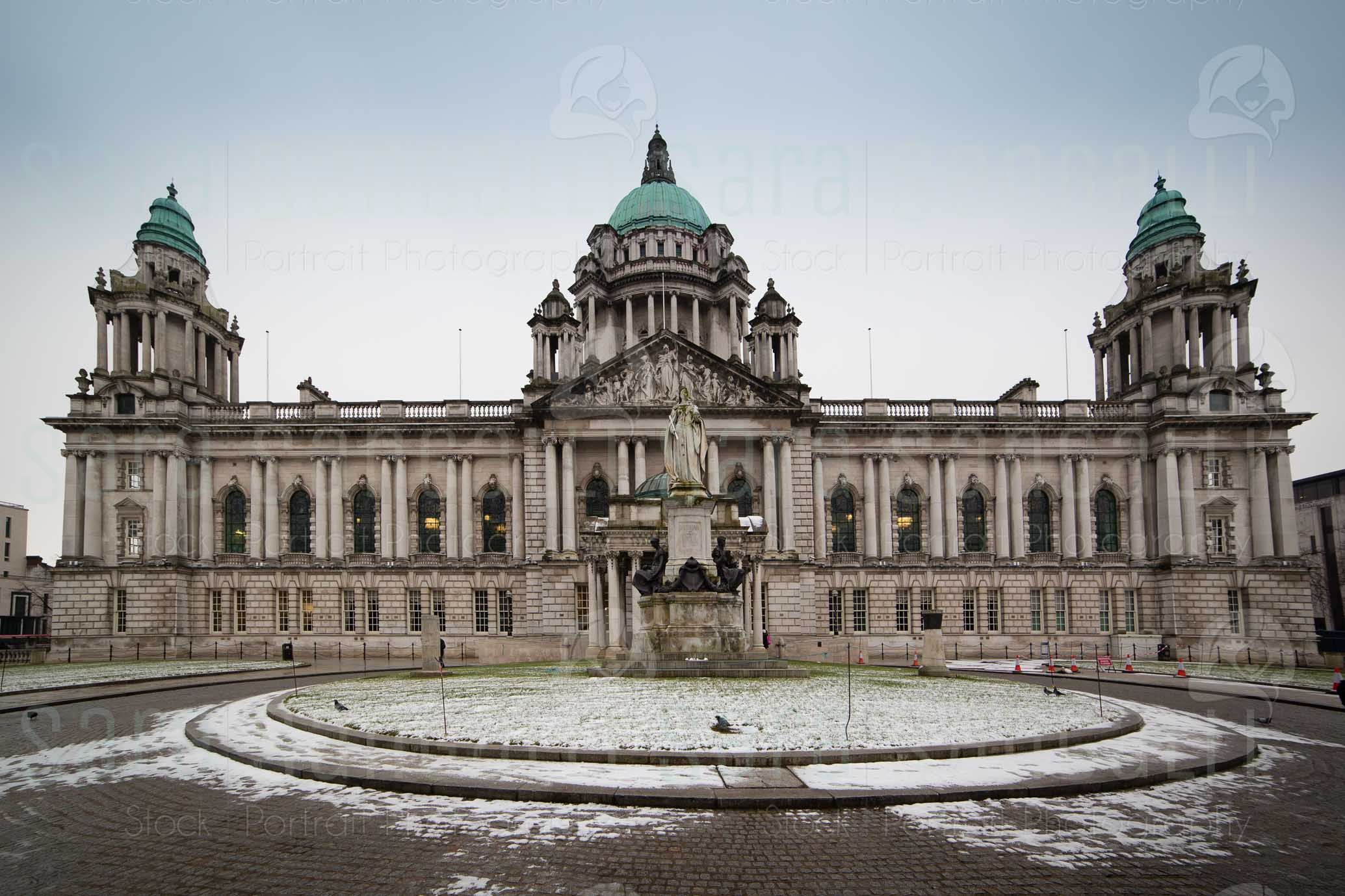 Belfast City Hall fronta facade during winter time