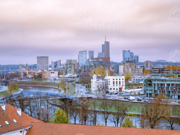 Vilnius city, capital of Lithuania. View on modern city center, skyscrapers and bridge over Neris river